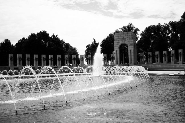 World War II Memorial Black And White C Canon Sl1 Canonphotography Outside Summer Washington DC Water World War 2 Memorial