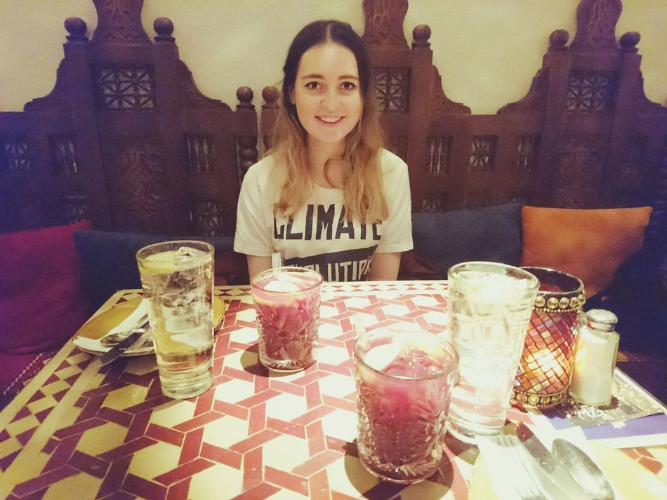 Enjoy The New Normal Portrait Looking At Camera Beautiful People One Woman Only Beauty Table Drinking Glass Smiling Amy Amaturephotography PhonePhotography Sangria! Tapas Date Night Girlfriend