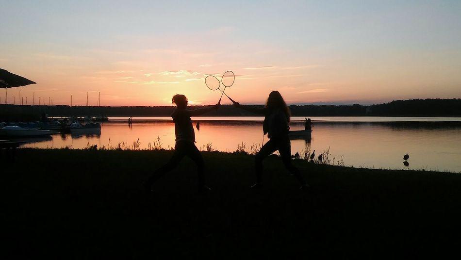 Play Sports Badminton Lakeside Sunset Water Capture Berlin