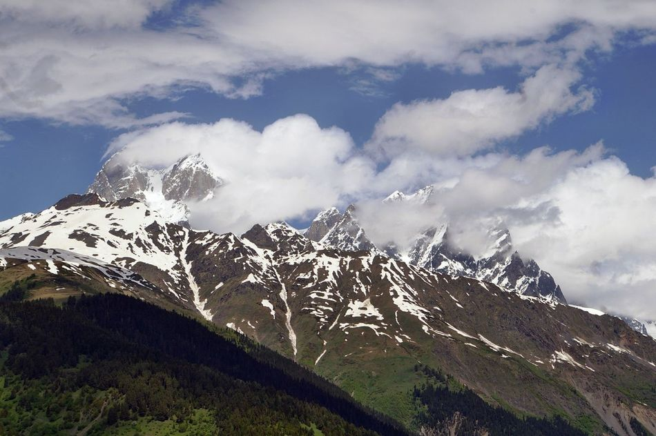 Beauty In Nature Cold Temperature Geology Georgia Kaukaz Landscape Majestic Mountain Mountain Range Nature Outdoors Physical Geography Remote Scenics Shara Sky Snow Snowcapped Tranquil Scene Tranquility Trip Weather Winter