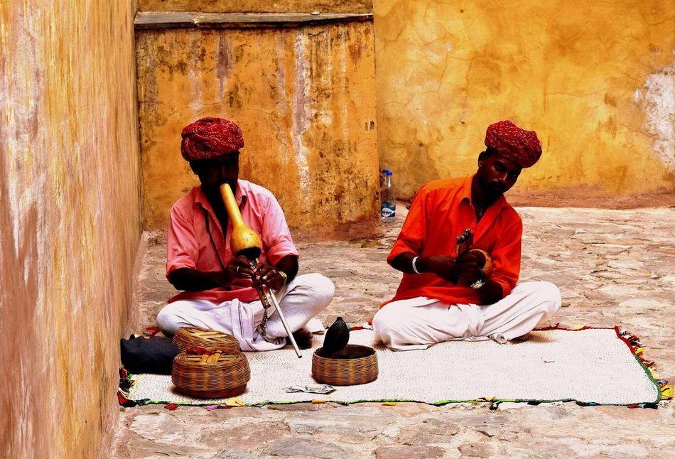 Snake charmers at the Amber Fort. India Jaipur Travel Wanderlust Snakes