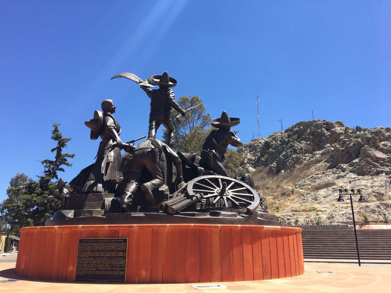 Zacatecas Monument Mexico Revolución Mexicana Cerro De La Bufa Statue Clear Sky Sunlight Traveling Pueblomagico Day Esculturas Y Estatuas Mexico Una Mirada Al Mundo