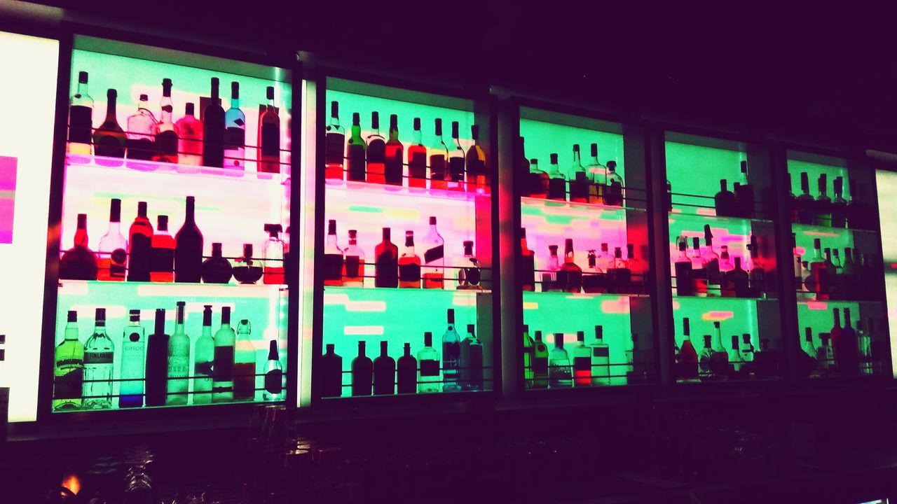 Bar Alcohol Indoors  Variation Multi Colored No People Night Alcohol Bottles Neon Lights Drink Up Pink Light Visual Feast Drinks
