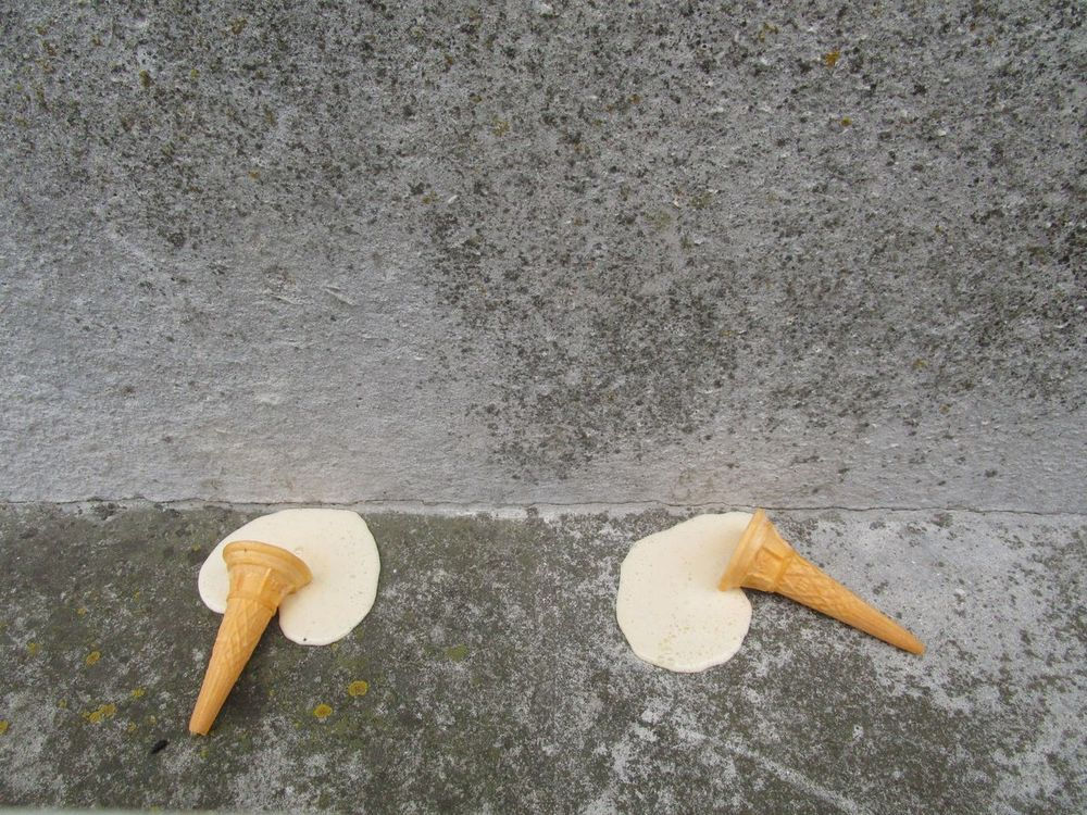 Ice Cream Melted Concrete Sad Waste Together Minimalism Cone Floor Grey Pair The OO Mission Two Is Better Than One BYOPaper!