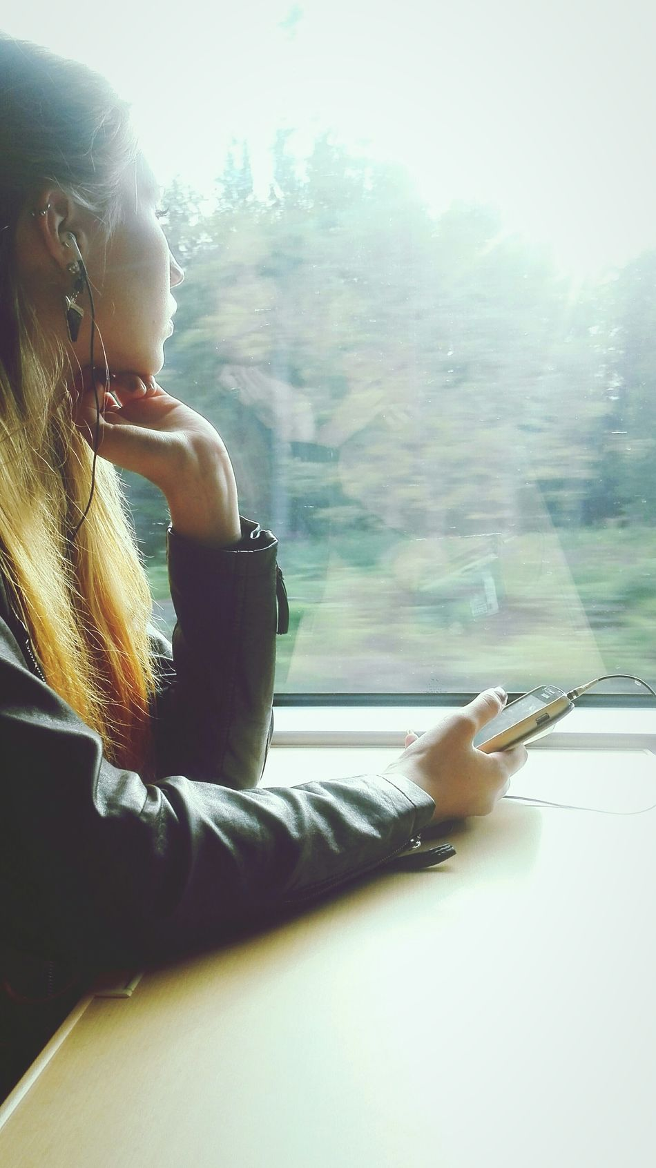 Feel free to do whatever you like. Music Travelling Train Girl Ilovemysister Capturing Freedom Wondering Stare Window Young Adult Young Women Sitting Alone Inside PhonePhotography