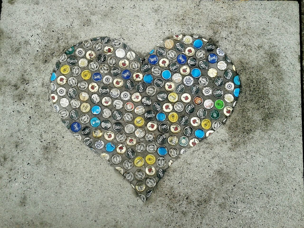 Streetart Taking Photos Heart ❤ Beercaps Kopenhavn The Following Beautifully Organized