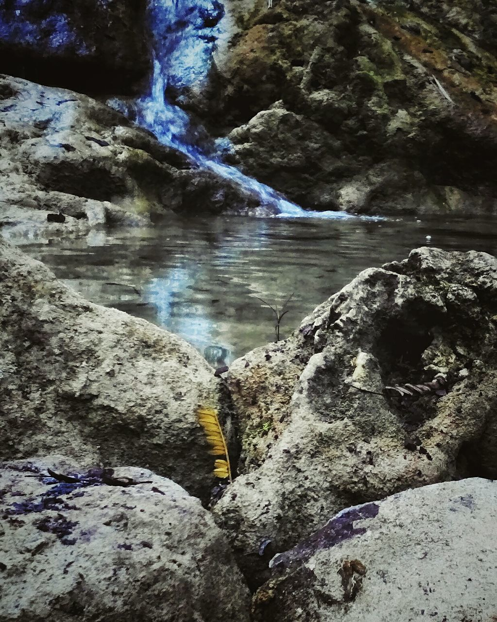 rock - object, nature, beauty in nature, rock formation, water, tranquil scene, waterfall, scenics, tranquility, motion, outdoors, day, no people, hot spring, sky