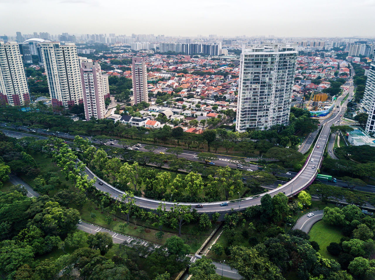 Aerial View Architecture ASIA Building Exterior Built Structure City Cityscape Day Drone  Dronephotography High Angle View Highway Modern No People Outdoors Road Singapore Sky Skyscraper Tree Urban Urban Geometry