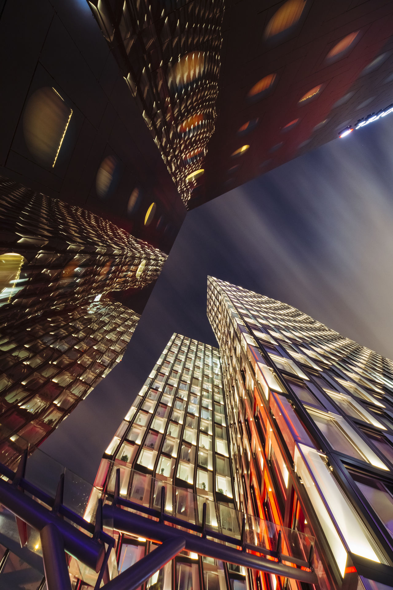 Architecture Architecture Built Structure City City Lights Cityscape Cityscapes Colorful From Below Hamburg Illuminated Long Exposure Longexposure Low Angle View Modern Modern Architecture Motion Blur Night Lights Night Photography Reeperbahn  Skyscraper Tanzende Türme Towers