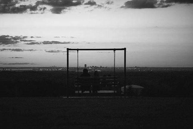 As night fell over Buffalo Buffalo Buffalony Buffalove Onebuffalo Bench Monochrome Blackandwhite Bnw Monochromatic POTD Photooftheday Sunset