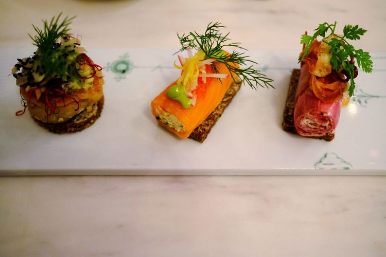 Healthy Eating Close-up Food Smørrebrød Sandwich Fish Salmon Veal Roé Food Porn