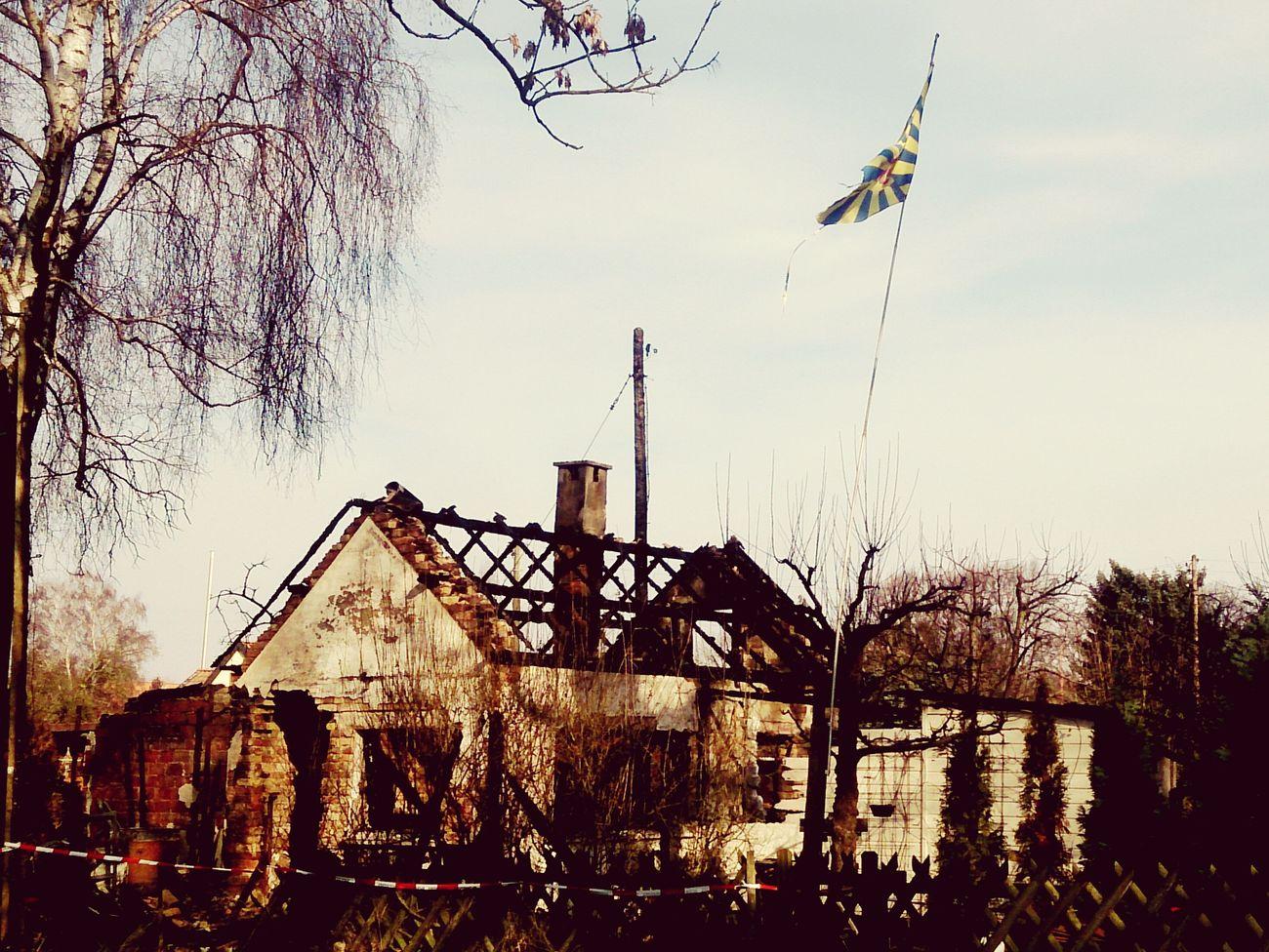Burn out Allotment Garden Datsche Fire Flag Pole Flag Flagpole Burnt Braunschweig Brunswick Eintracht Braunschweig