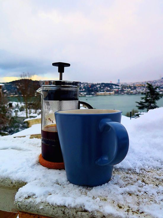 Cuban Frenchpress Coffee Good Morning Bosphorus Istanbul Homesweethome Arnavutkoy Kurucesme Winter Cold Snow
