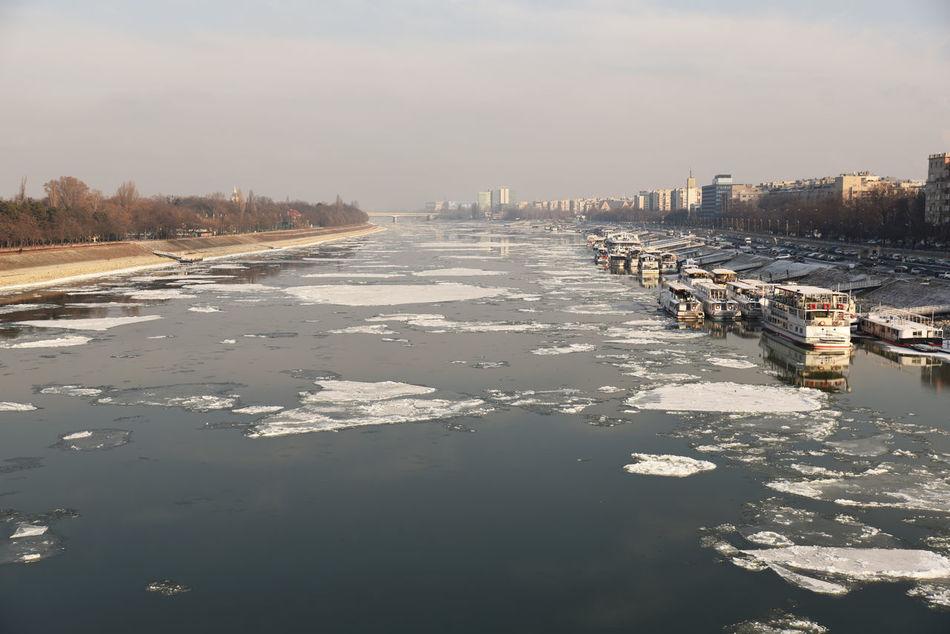 Bridge Budapest City Danube Danube River Day Debacle Ice Margaret Bridge No People Outdoors River Sky Winter
