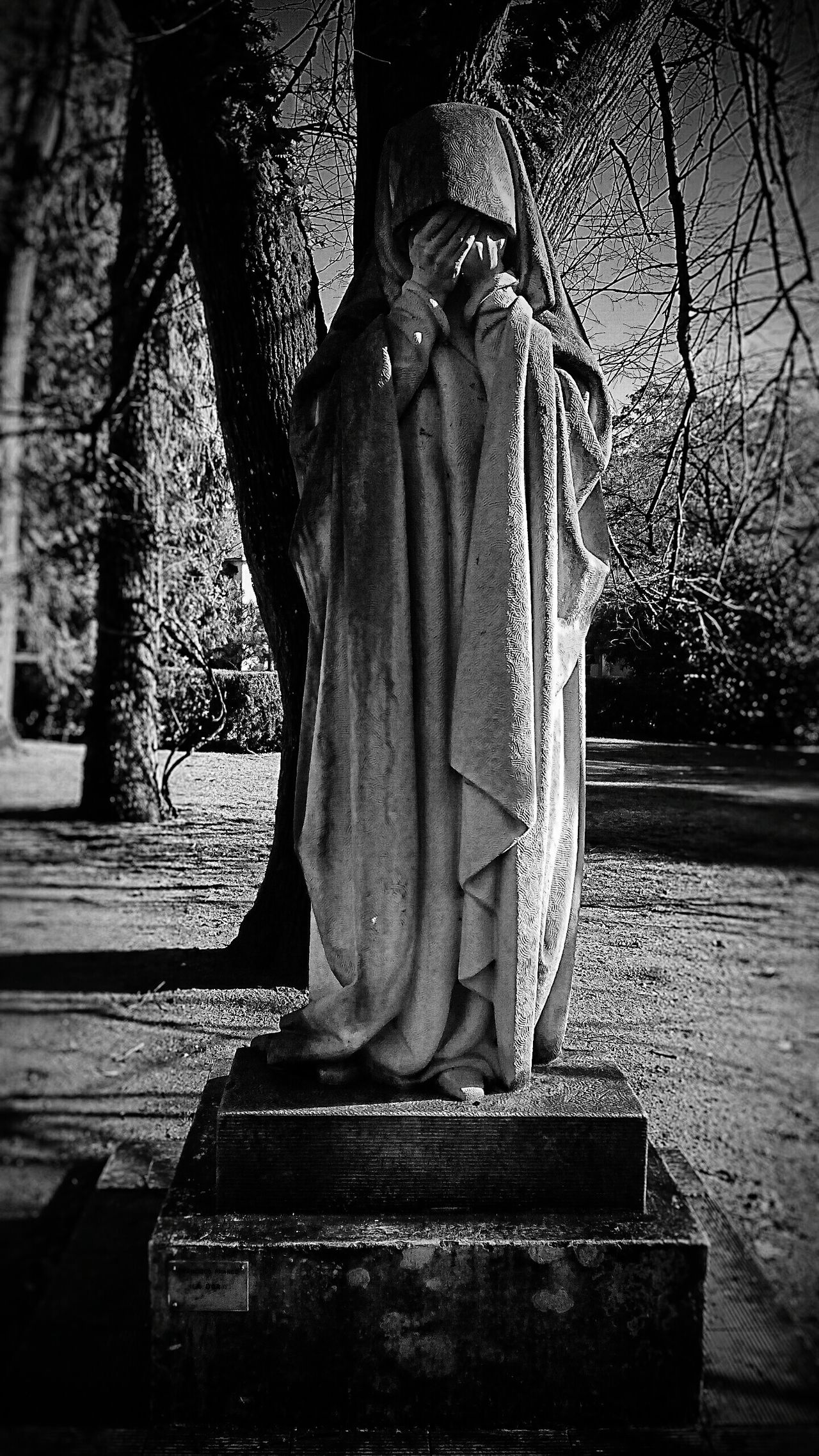 Statue Adult One Person People Tree Outdoors Womanselfie Woman Portraiture Woman Face Cries Chorar Park Blackandwhite Black & White Black And White EyEmNewHere
