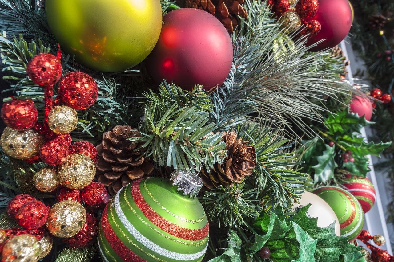 Decorated Holiday Christmas Wreath On Door Balls Christmas Christmas Decoration Decoration Garland Green Holiday Ornament Pine Season  Wreath Xmas