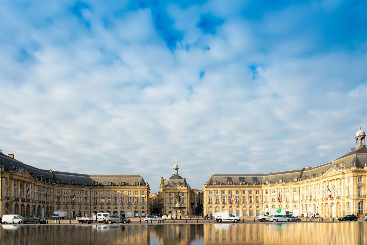 Architecture Bridge - Man Made Structure Building Exterior City Cityscape Cloud - Sky Day Government No People Outdoors Place De La Bourse Politics And Government Reflection River Sky Travel Destinations Urban Skyline Water