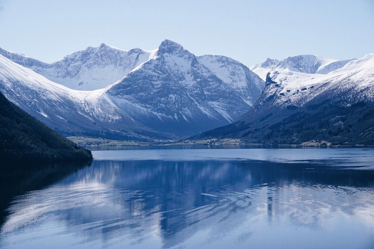 Norwegian scenery Mountain Beauty In Nature Reflection Water Nature Tranquil Scene Mountain Range Waterfront Snowcapped Mountain Travel Destinations Norway Visitnorway Visitmoreogromsdal Visit_molde Springtime