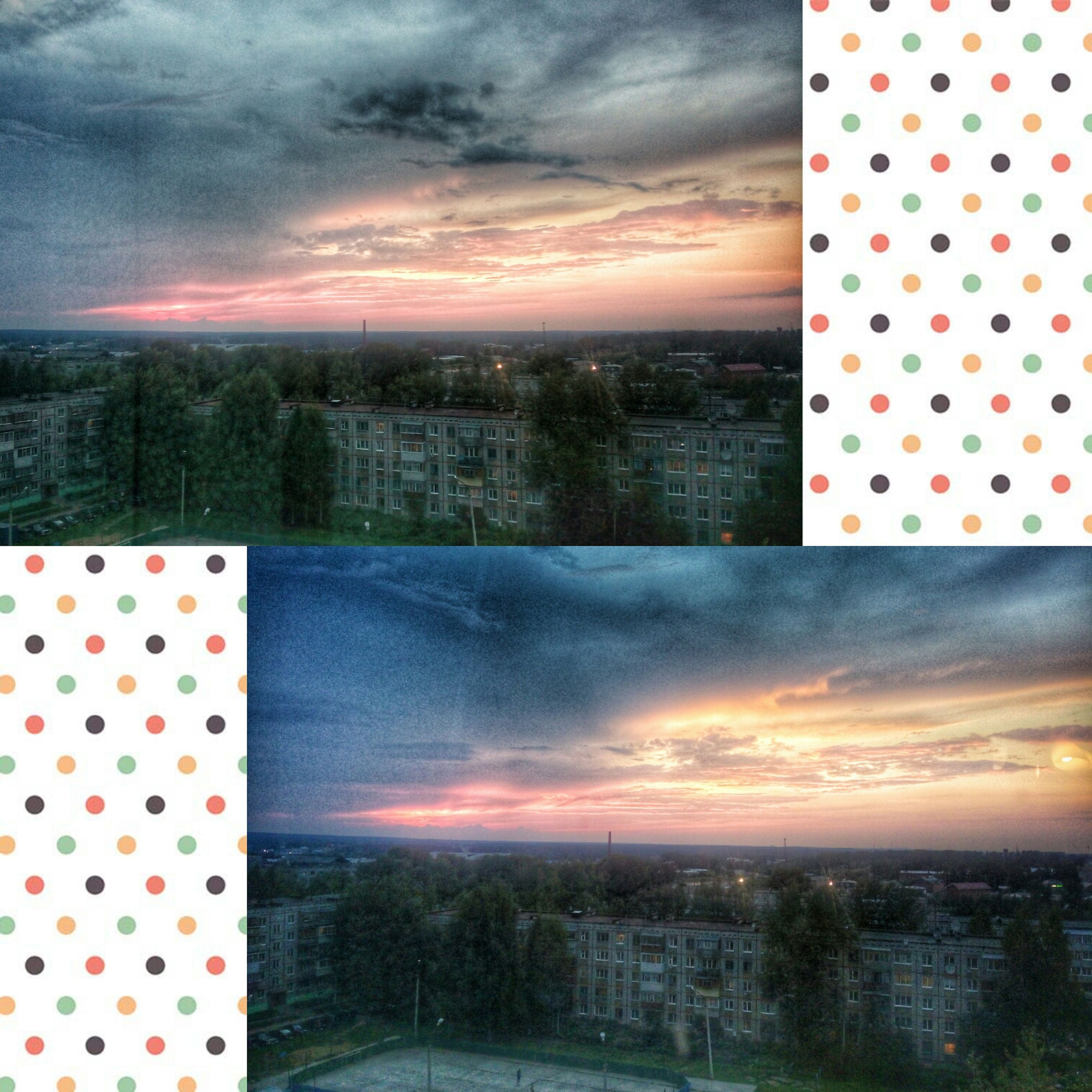 cloud, transportation, sky, striped, outdoors, collage, cloud - sky, multi colored, moody sky, blue, red, high section, skyline, office block, montage, storm cloud, romantic sky, colorful