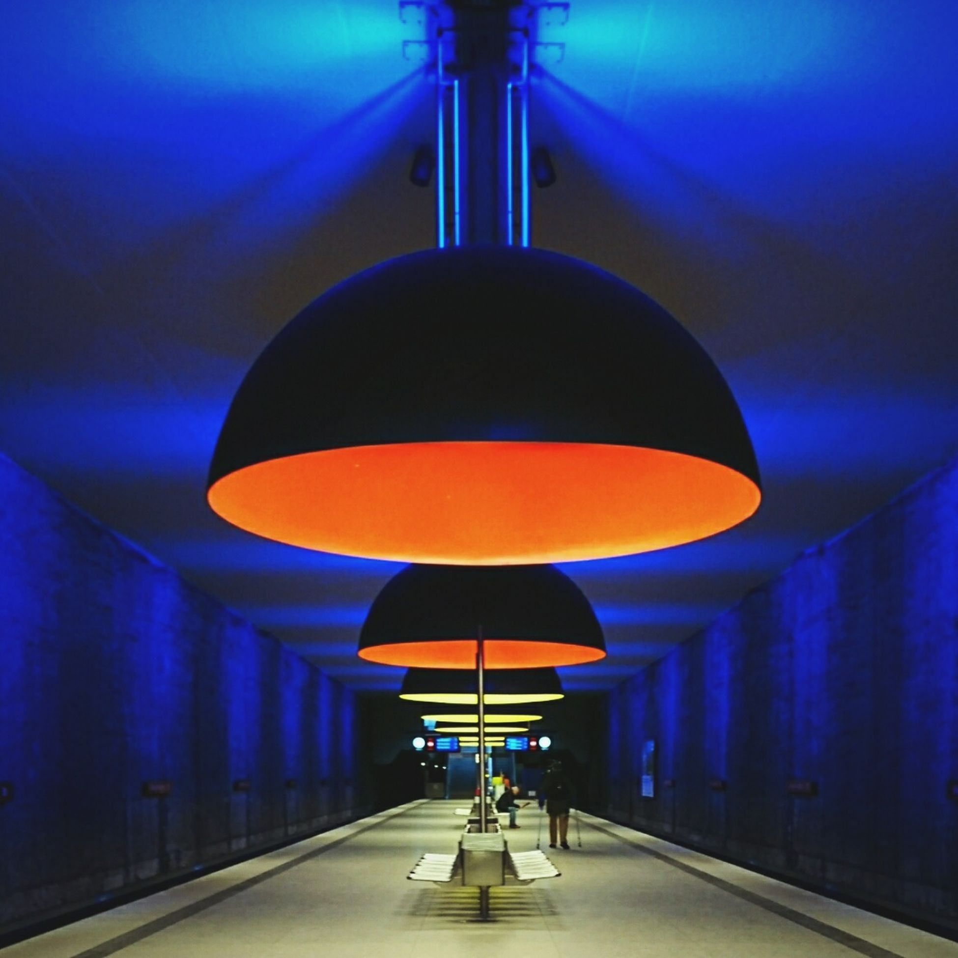 Colored Version of previous picture... No People Architecture München Illuminated Munich Transportation Underground Station In Indoors Public TransportationPublic Transportation Built Structure Travel Destinations Modern Architecture Shootermag Mobilephotography Sonyxperia Xz