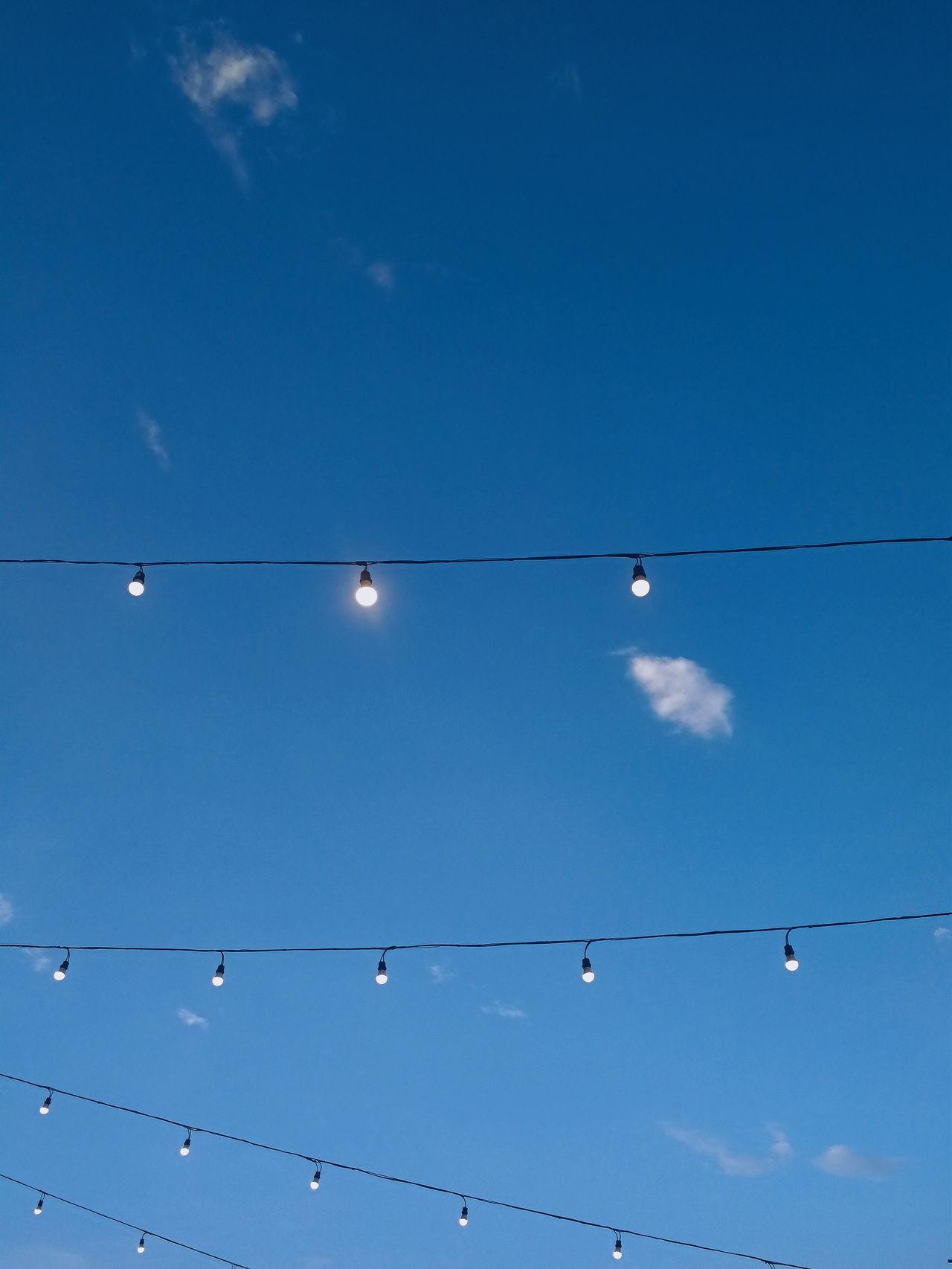 Blue skies Sky Cloud - Sky Blue Nature Outdoors Scenics Beauty In Nature Light Bulbs