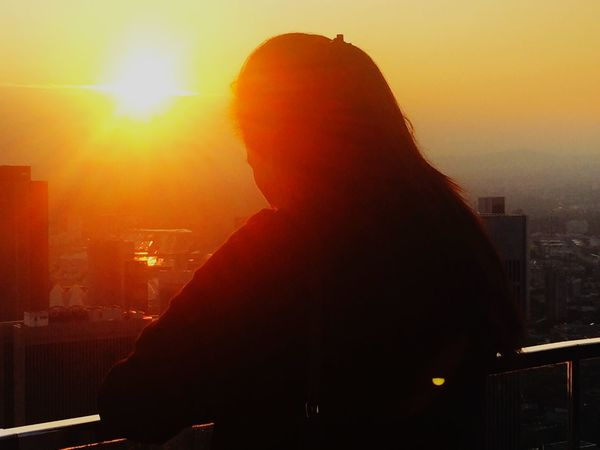 Sunset Tower Maintower Cityview People Lookingout Sky Outdoor Shadow Real People Silhouette One Person Standing Women Cityscape