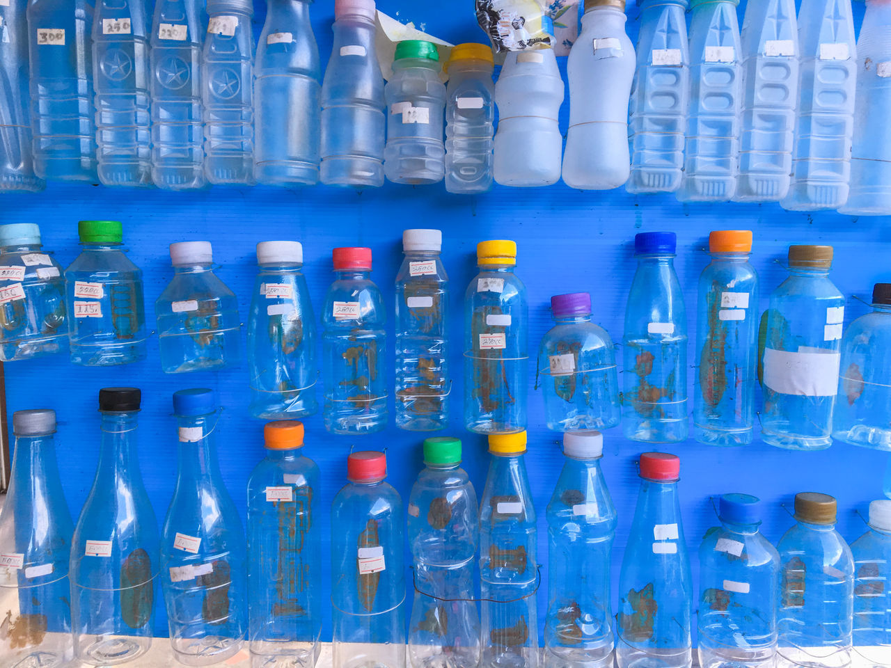 blue, large group of objects, bottle, variation, no people, indoors, choice, full frame, close-up, test tube, day