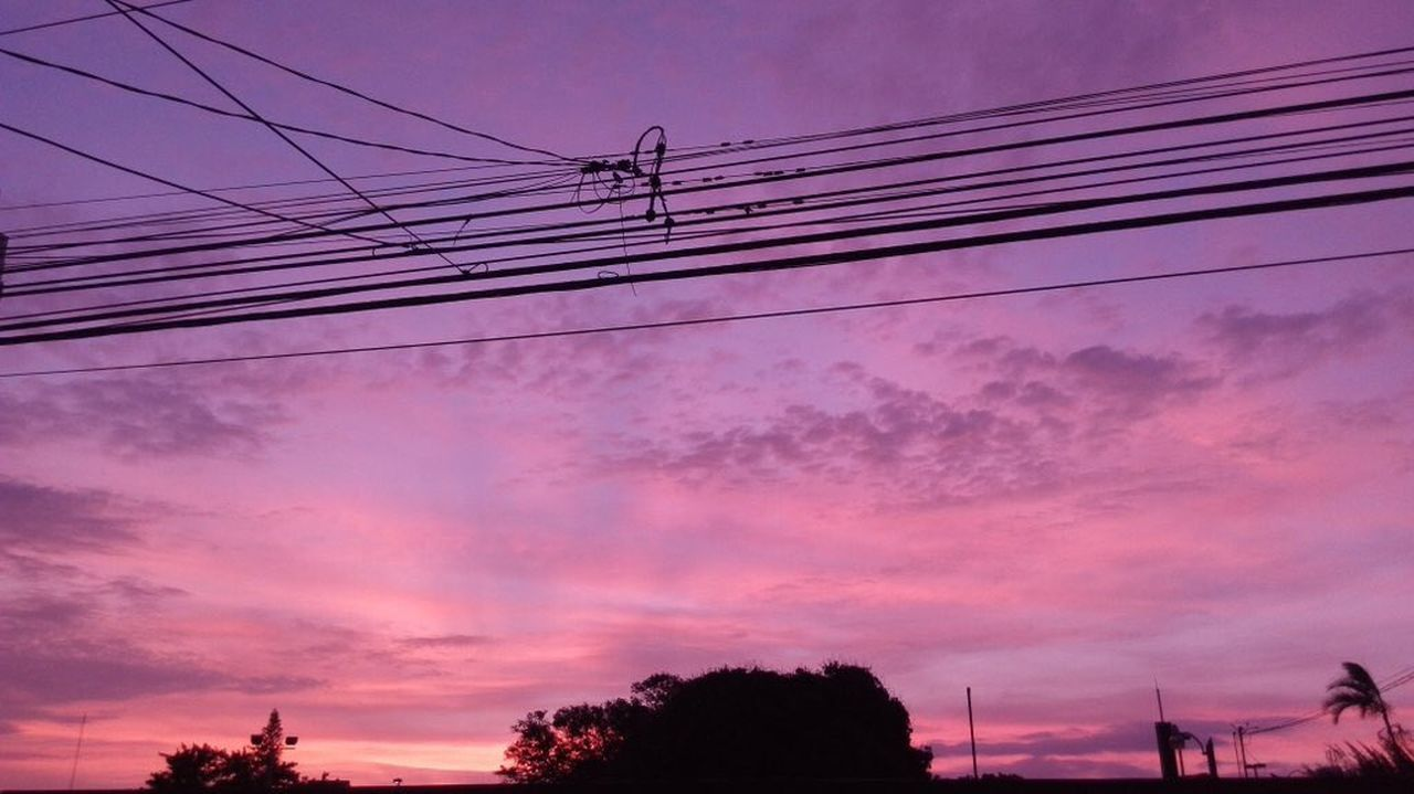 cable, sunset, sky, silhouette, power line, connection, low angle view, cloud - sky, power supply, electricity, electricity pylon, dramatic sky, no people, dusk, outdoors, nature, tree, scenics, beauty in nature, technology, telephone line, day, bird
