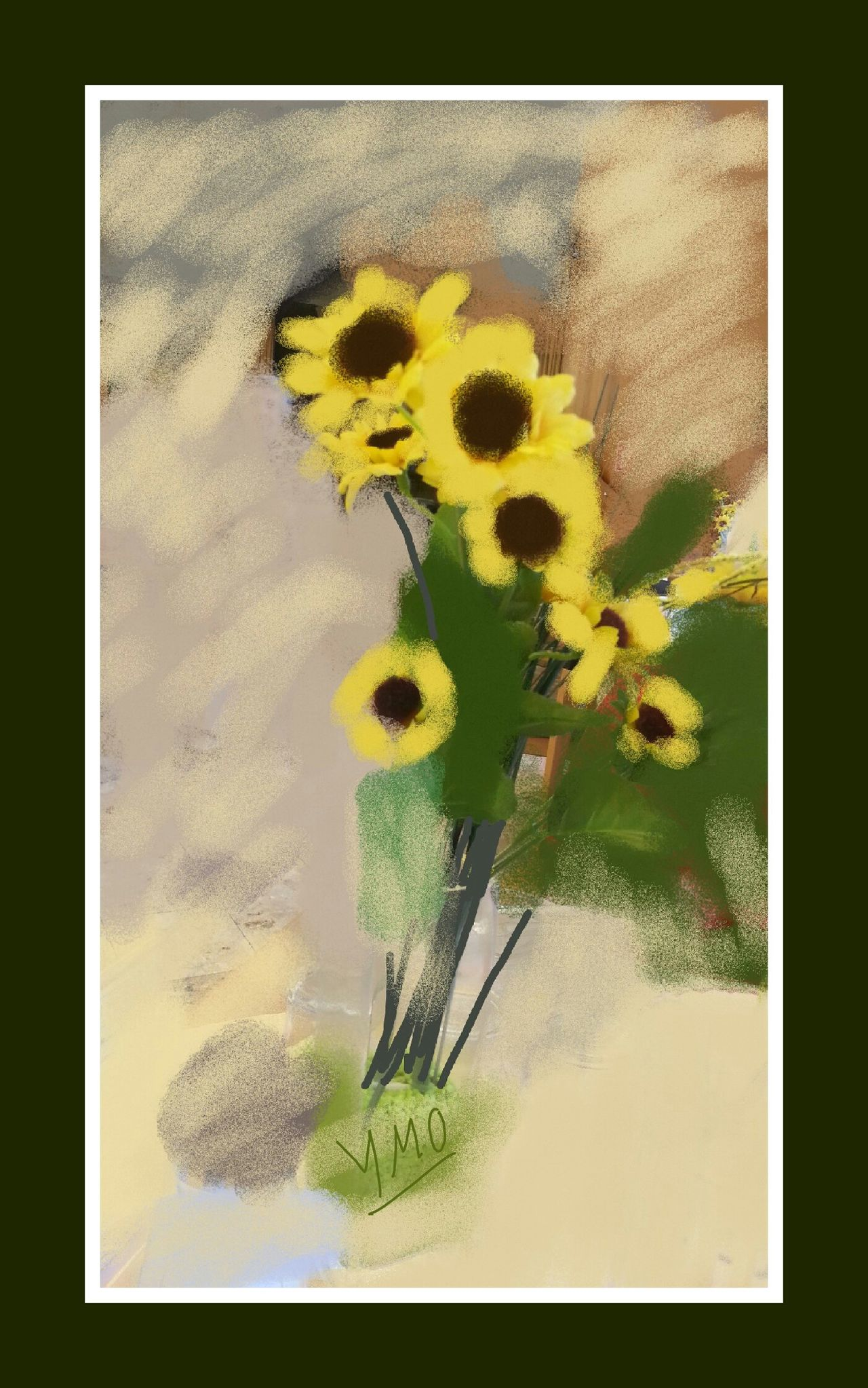 Fleurs Jaunes Bouquet Inspirations Vienna Ymoart YMO Hello World Couleurs Indoors  Nature Composition Stilleben Gemaeldegalerie Berlin Digital Art Digital Painting Peinture