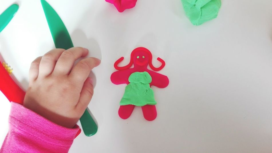 Child Childhood Human Body Part Children Only Human Hand Red One Person People One Girl Only Indoors  Girls Multi Colored Close-up Day Mold Plasticine Playing Lifestyles Leisure Activity Litlle Girl Girl High Angle View