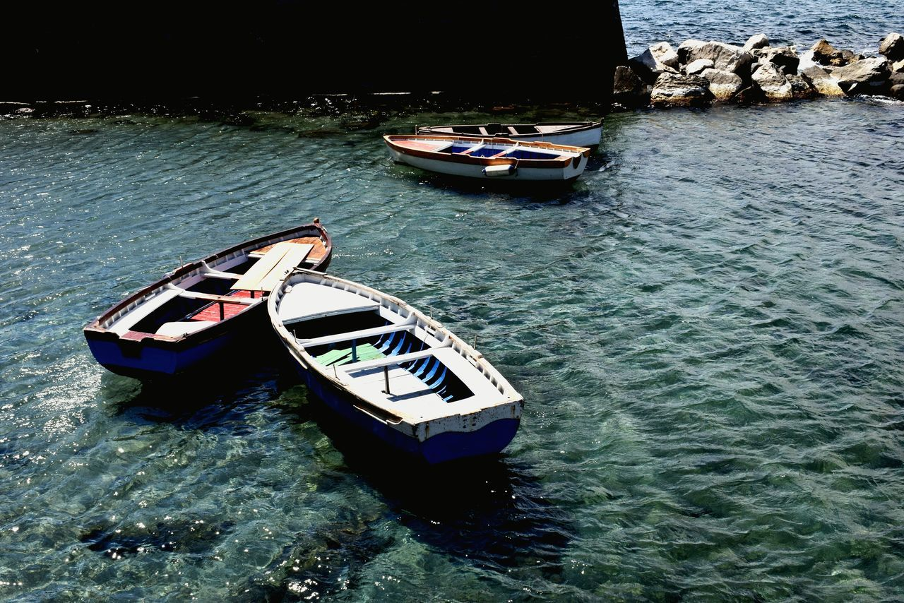 Nápoles water Nautical Vessel Transportation High Angle View Mode Of Transport Day Water Nature No People Outdoors Water_collection Water Surface Water Colours Sealife Sea Side Boat Life Boatlife Boats And Water Boats And Sea Napoli Napoli ❤