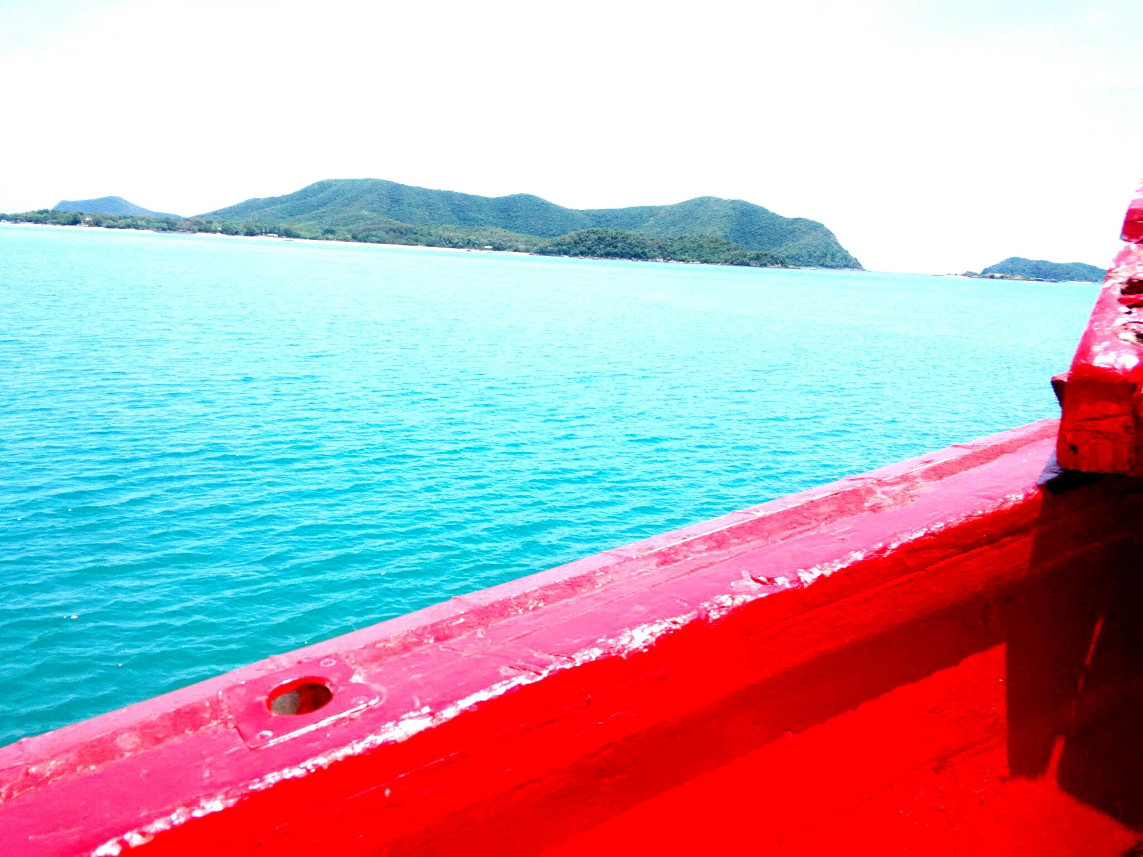 red, water, day, sea, outdoors, no people, transportation, nature, mountain, scenics, sky, nautical vessel, beauty in nature