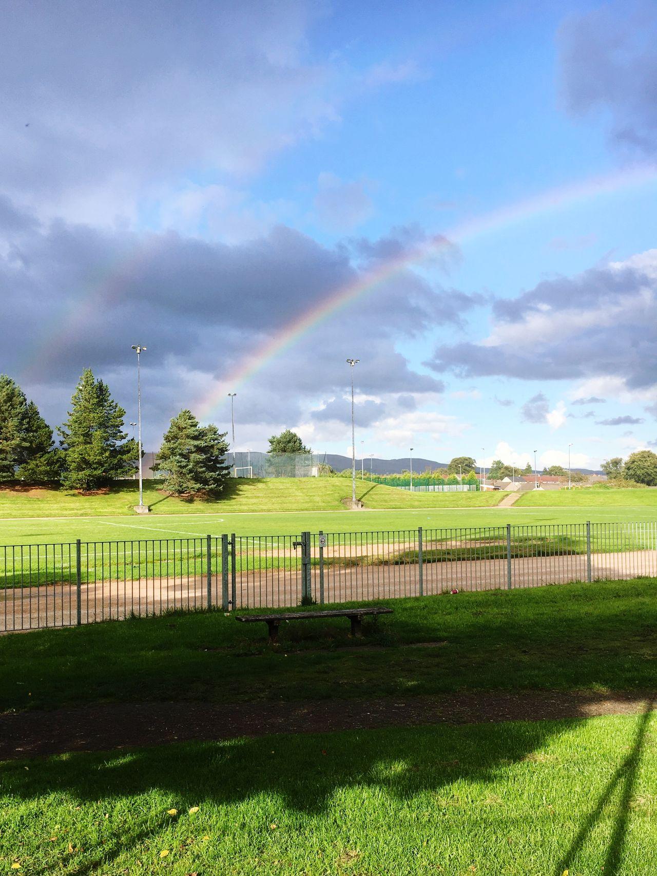 Double Rainbows Sun And Rain Cloudy Skies