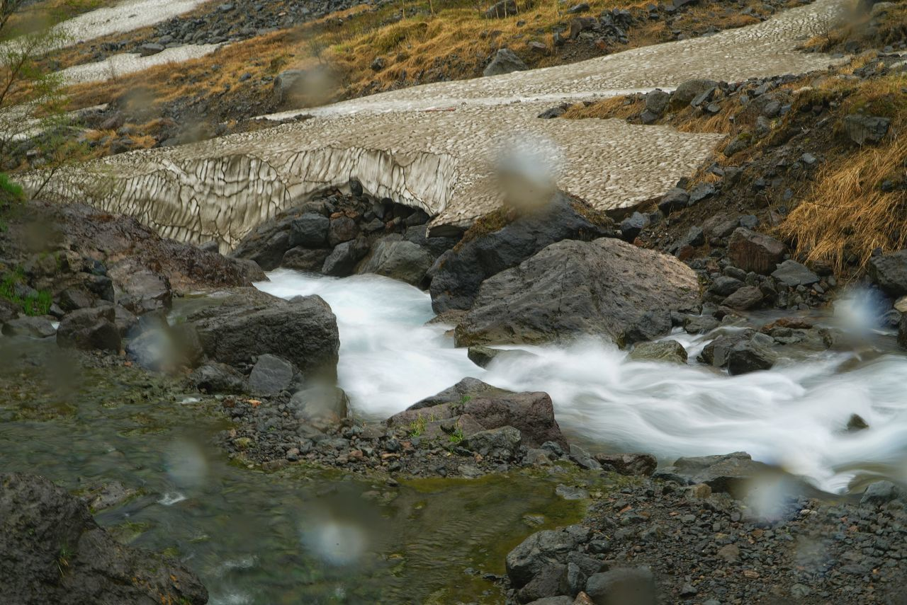 China Photos 백두산 백두산폭포 Rainy Days Raindrops Waterfall Falls Stream Flowing Stream Flow  Nature Snow Covered Snow Melting Taking Photos Landscape Changbai Mountain, China Streamzoofamily