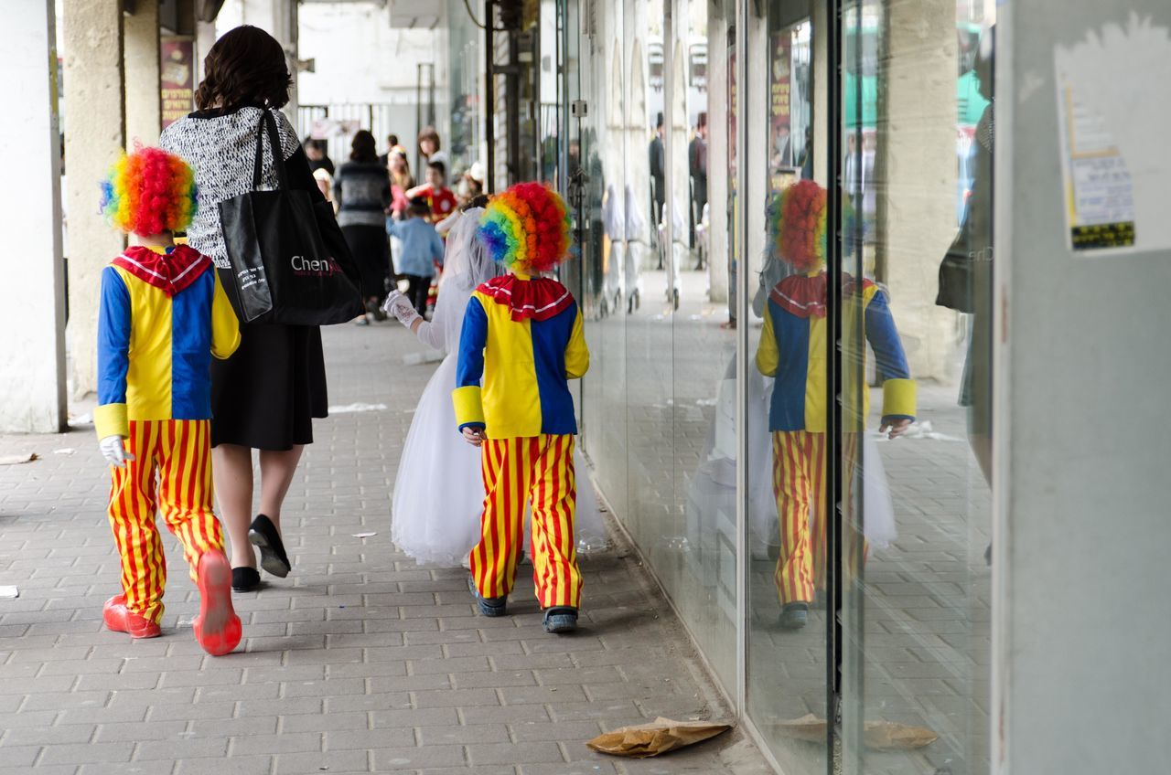 Beautiful stock photos of clown, full length, lifestyles, multi colored, women