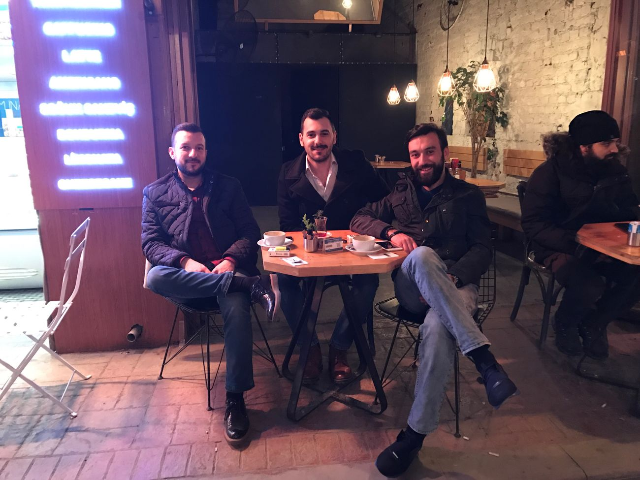 Friends Istanbul Only Men Night Friendship Happiness Men Looking At Camera People Table