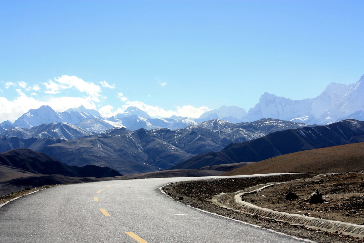 Empty Road Against Mountains