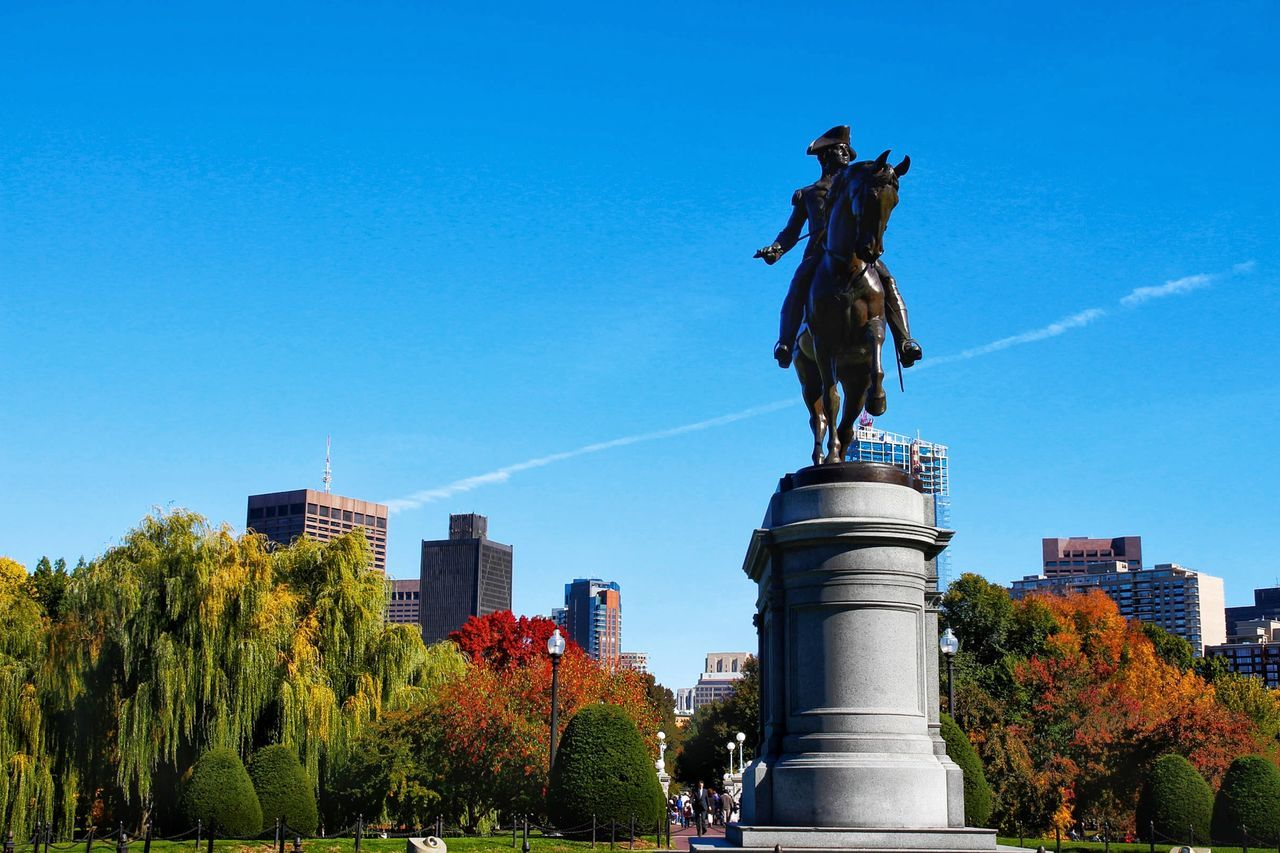 City Statue Blue Architecture Clear Sky Building Exterior Built Structure Outdoors Travel Destinations City Life Sculpture Sky Day No People Cityscape Tree Downtown District City Gate boston common Commonwealth