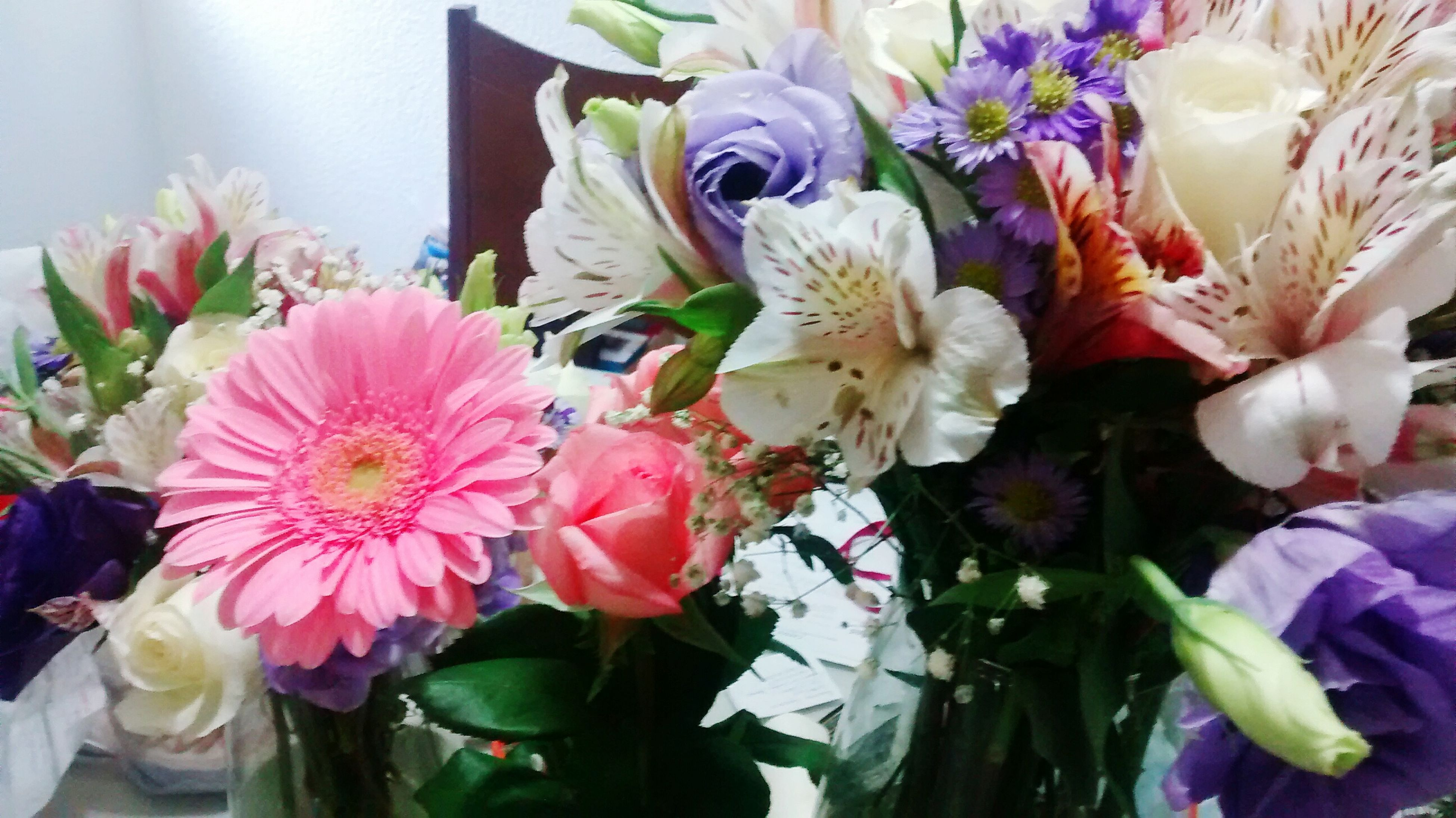 flower, indoors, petal, freshness, fragility, flower head, bouquet, decoration, flower arrangement, variation, vase, multi colored, bunch of flowers, close-up, plant, beauty in nature, blooming, tulip, nature, no people