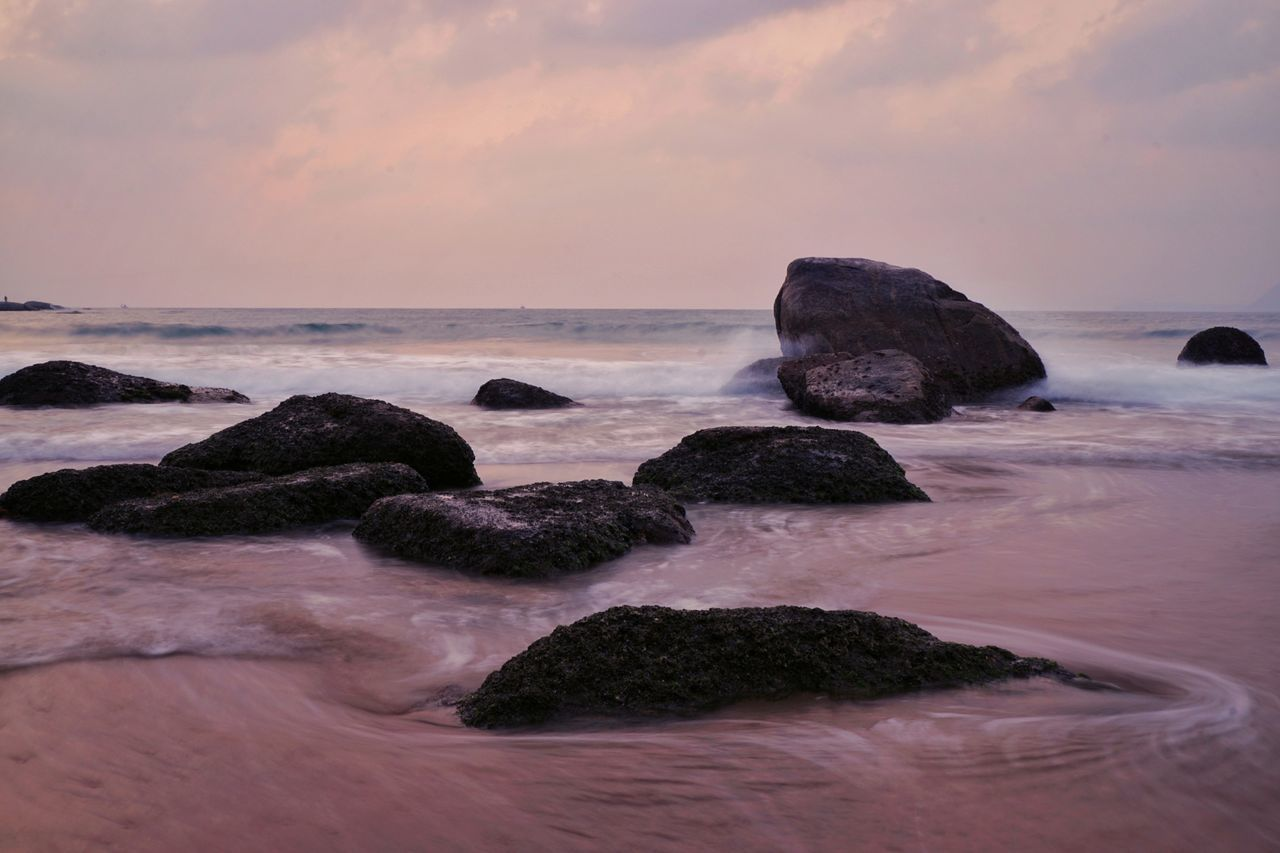 Sea Rock - Object Beach Sunset Nature No People Outdoors Beauty In Nature Sky Day