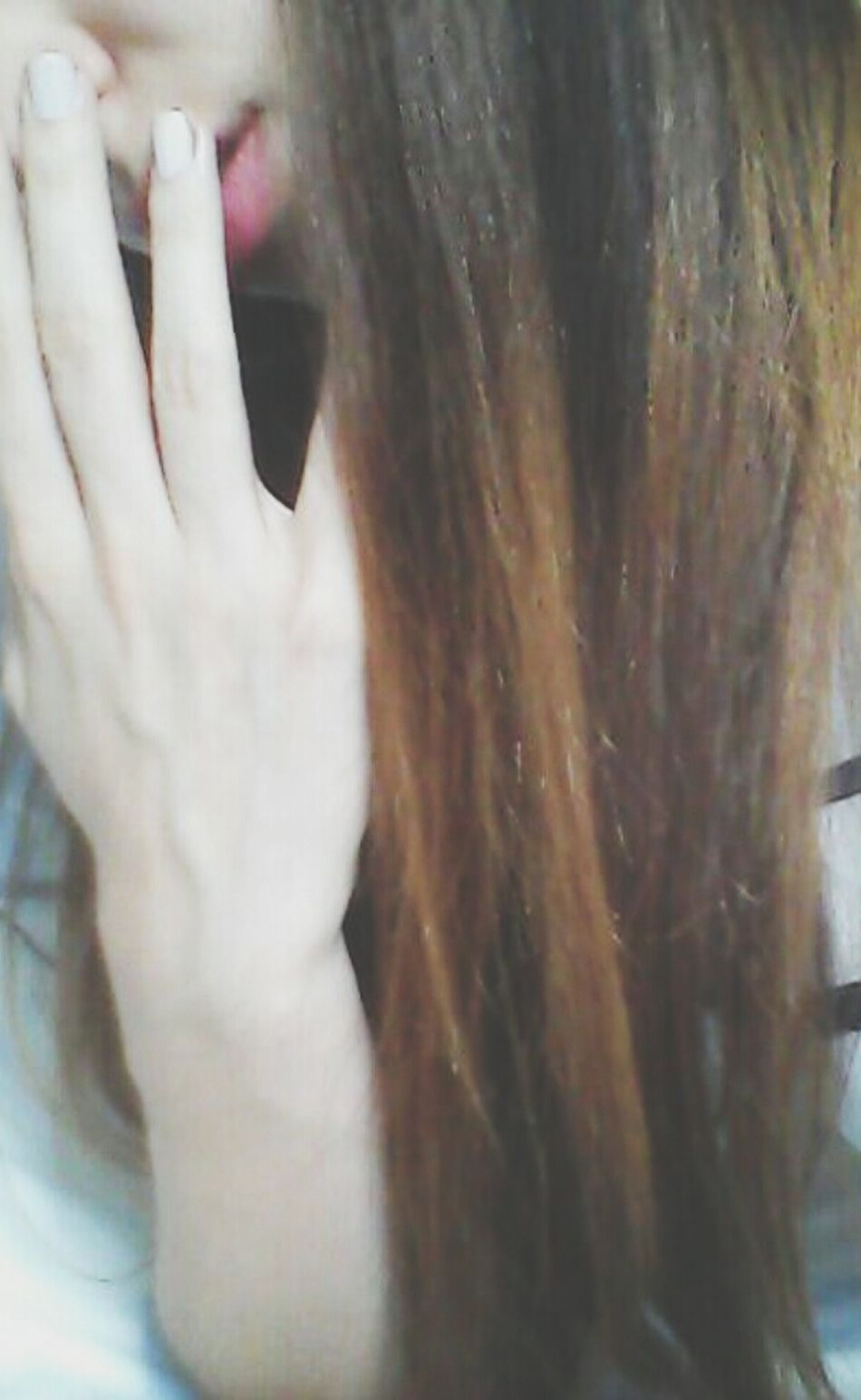 Tye And Dye White Nails Coral Lips Long Hair