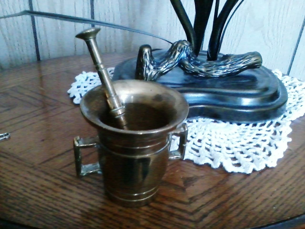 Old But Awesome Antique Wooden Table Brass Pharmaceutical Pestle Motar Medicine