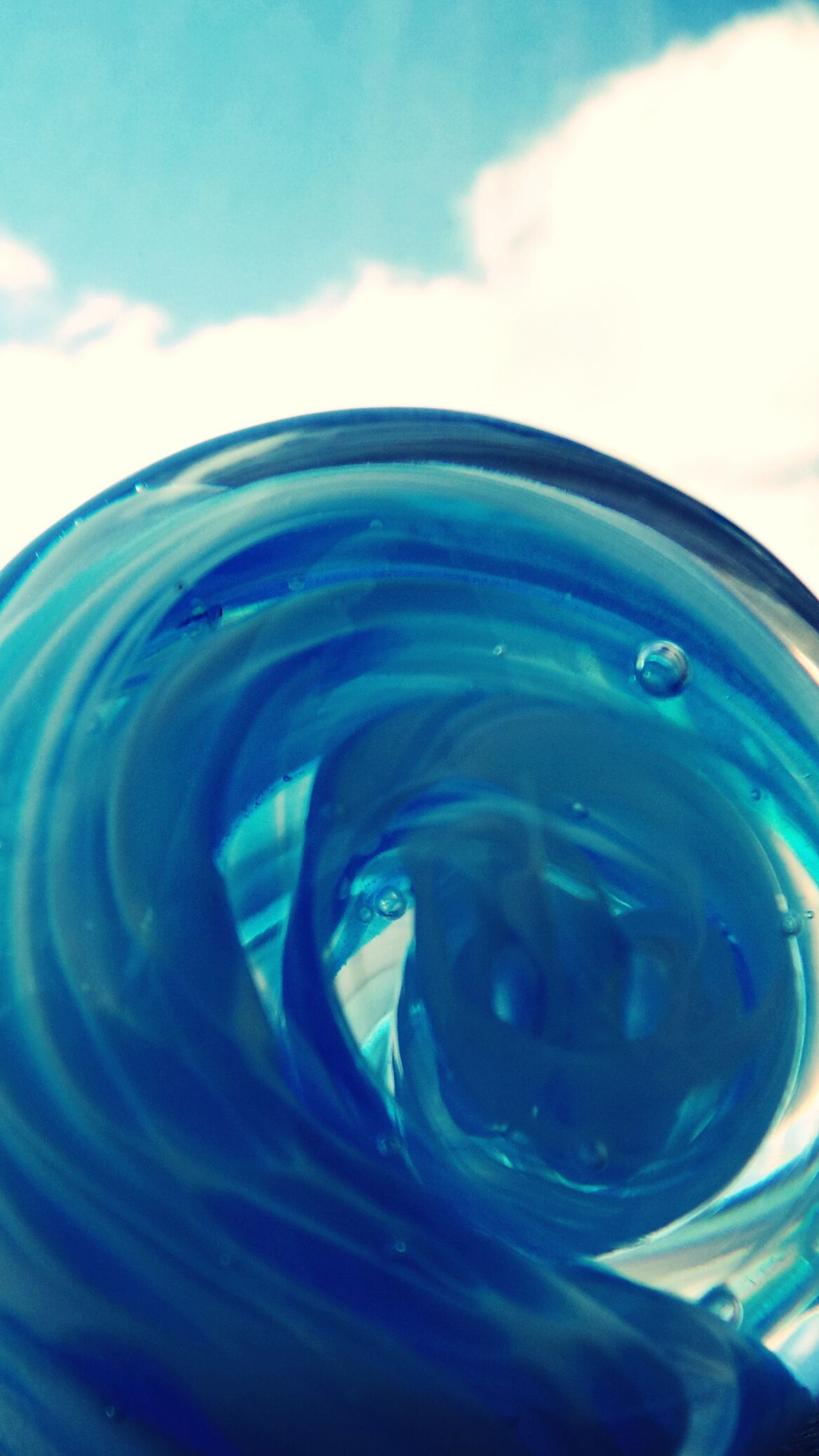 Turquoise By Motorola Swirling Clouds Sky And Clouds Swirled Turquoise and White Hand Blown Mirrored Multi-layered Reality Layered Blue Wave