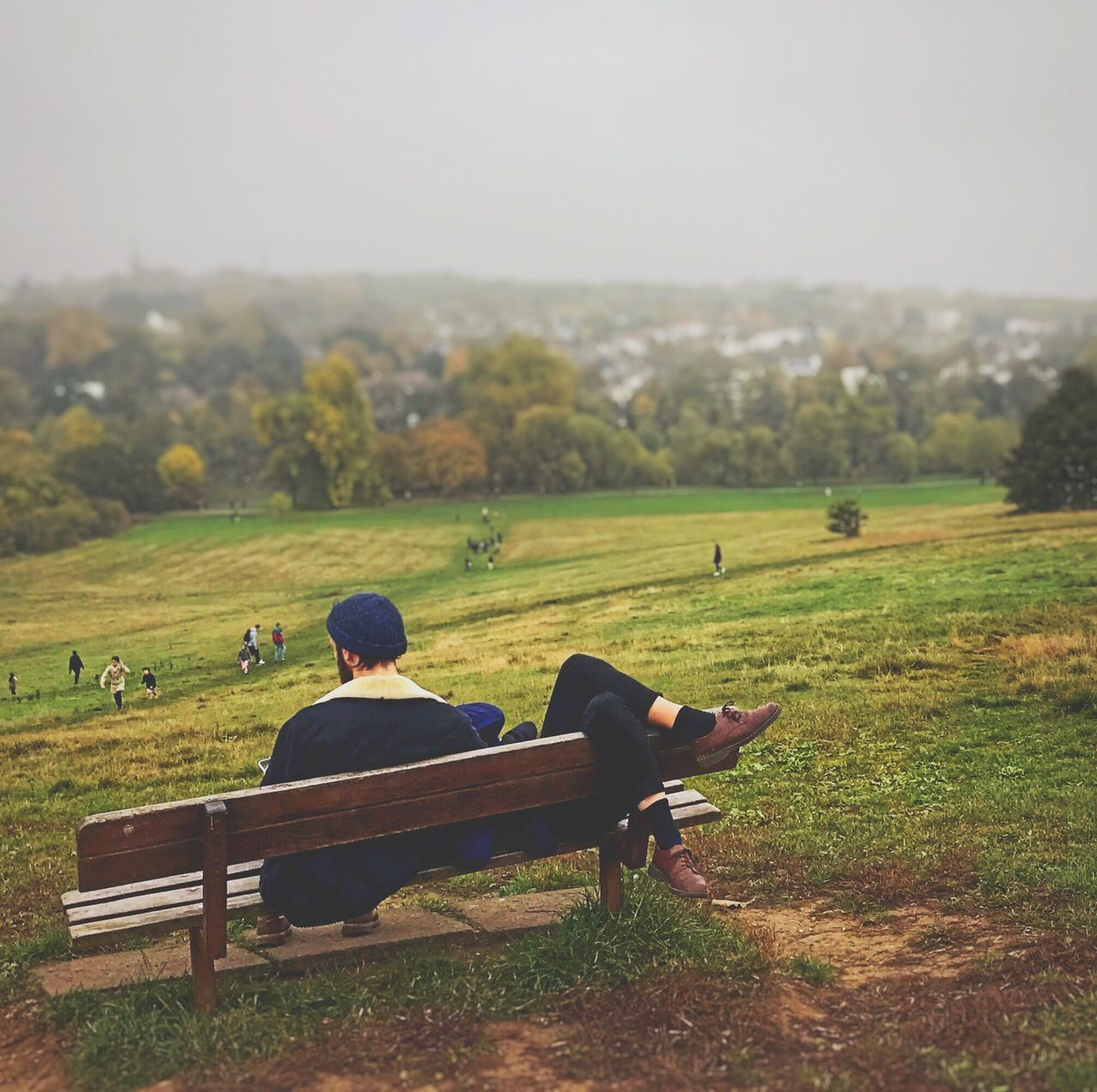 Sitting Real People Beauty In Nature Landscape Togetherness Hampstead Heath Parliament Hill Hill Autumn London Neighborhood Map