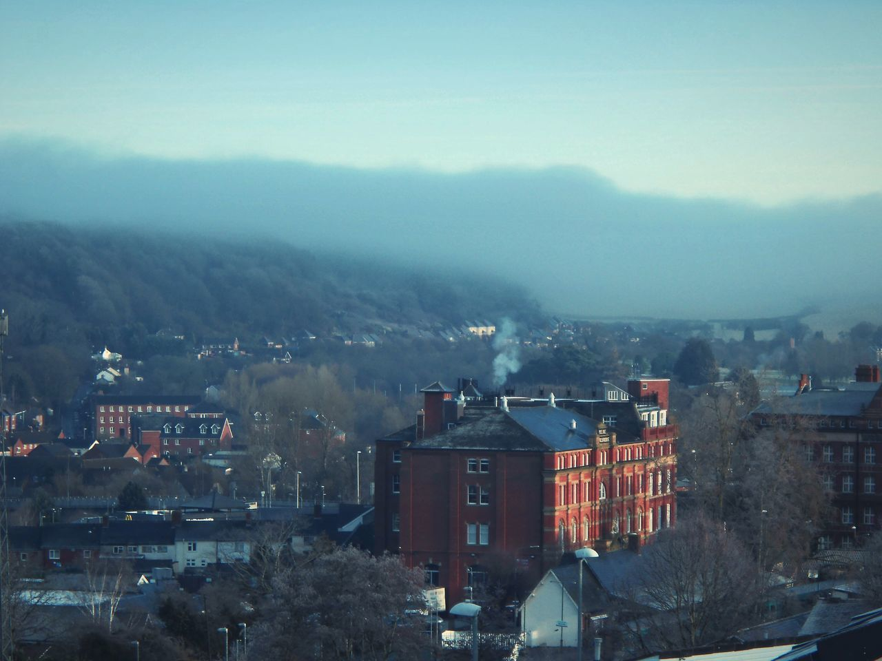 ... Newtown Powys , some other Winter ... Architecture Built Structure Building Exterior House Smoke - Physical Structure Outdoors Town Warehouse Brick Building Victorian Looking Down Fog Haze Sunny Wales Cityscape Cloud Hills город здания облако туман