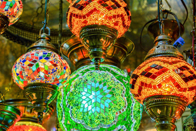 Close-up Colorful Decoration Green Color Hanging Illuminated In A Row Low Angle View Multi Colored No People