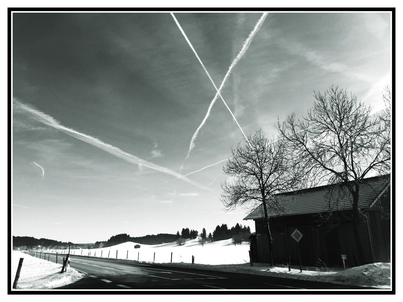 sky, vapor trail, tree, bare tree, built structure, architecture, outdoors, building exterior, no people, day, contrail, low angle view, scenics, nature, beauty in nature