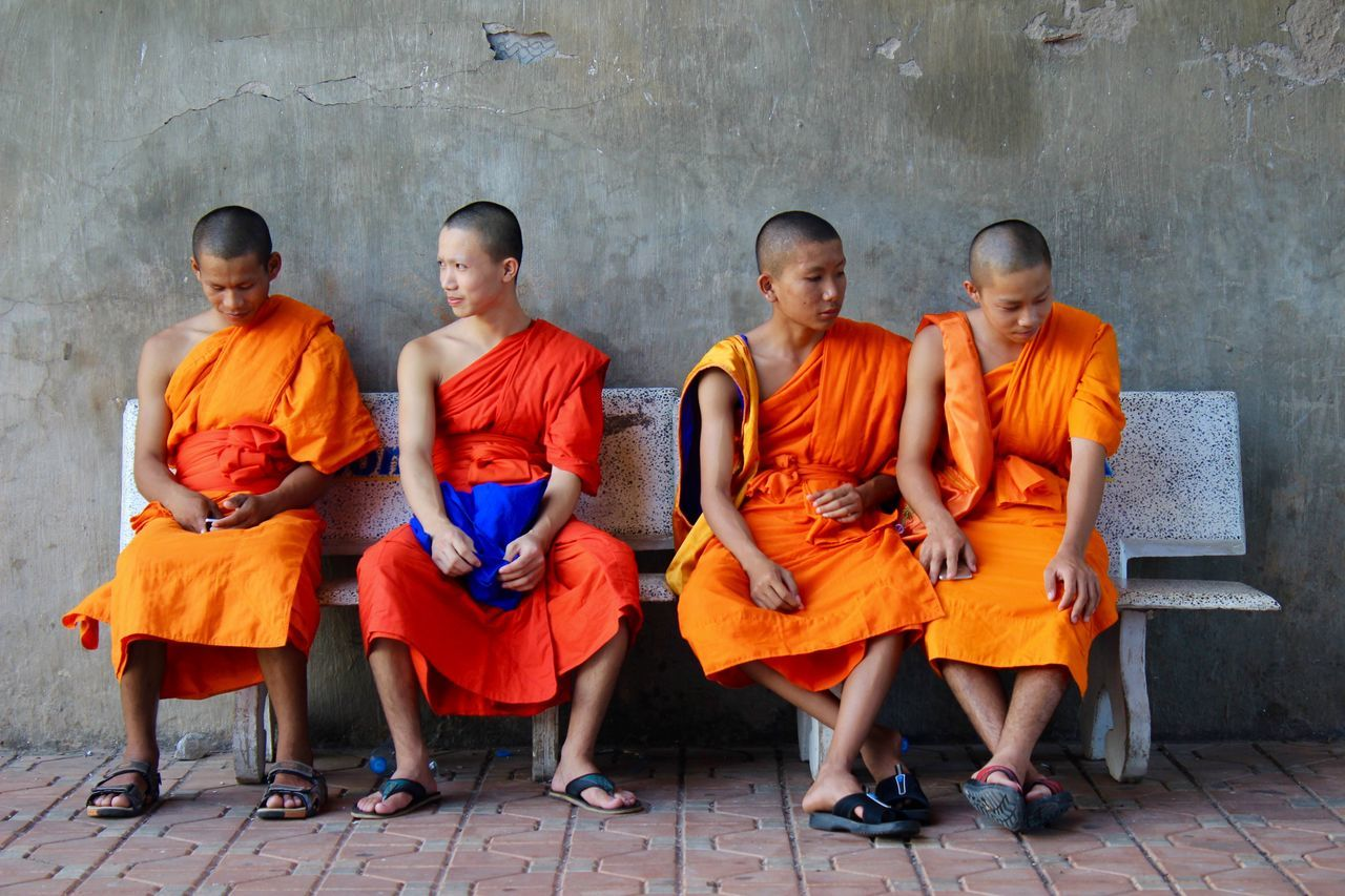 Modern day monks Bright Colors Buddhist Buddhist Monks Culture Laos Loas Meditation Monks Orange Religion Religions Spirituality Togetherness Tradition Travel Travel Destinations Travel Photography Vientiane First Eyeem Photo