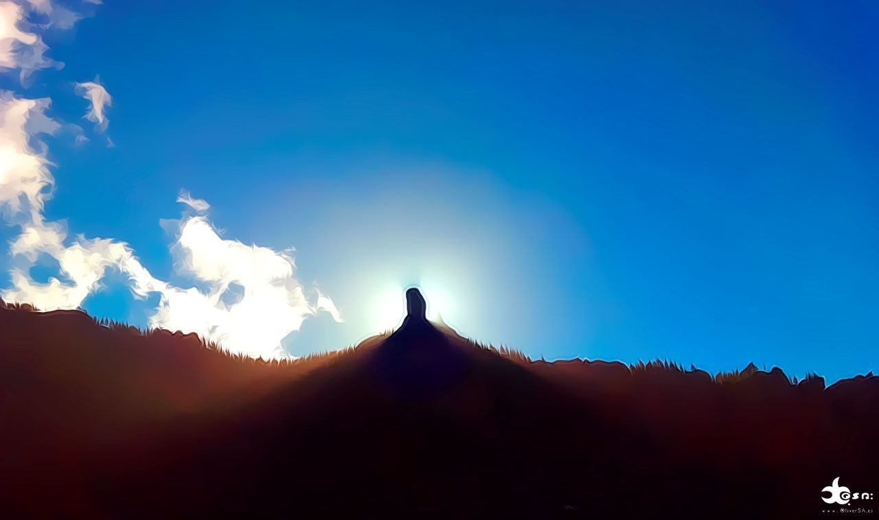 silhouette, nature, mountain, beauty in nature, sky, animal themes, one animal, outdoors, sunlight, tranquil scene, day, animals in the wild, scenics, no people, landscape, sunset, bird