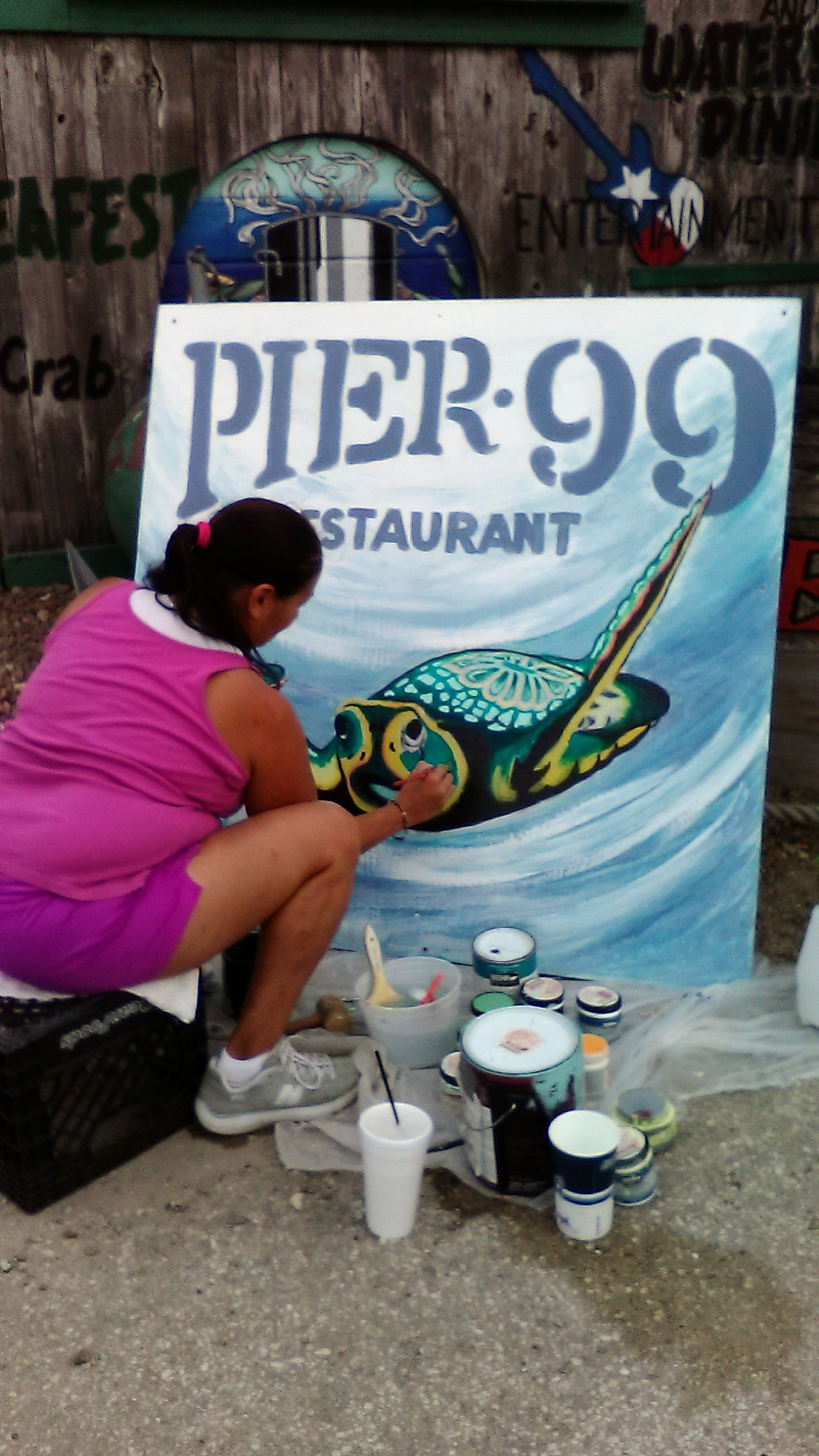 Taking Photos Restaurant Art Artist Working Sea Turtle Great Work Doing Her Thing  Outdoor Photography Sign Sign Painting Sign Photography Sign Painter Capture The Moment New Sign Have A Good Night